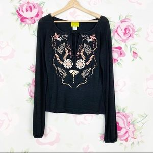 Anthro Ago e Filo Floral Embroidered Knit Blouse S